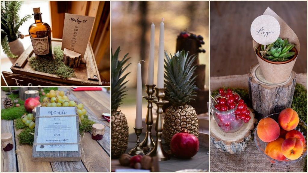 A képen egy tipikus vintage esküvői dekoráció kiegészítői láthatóak